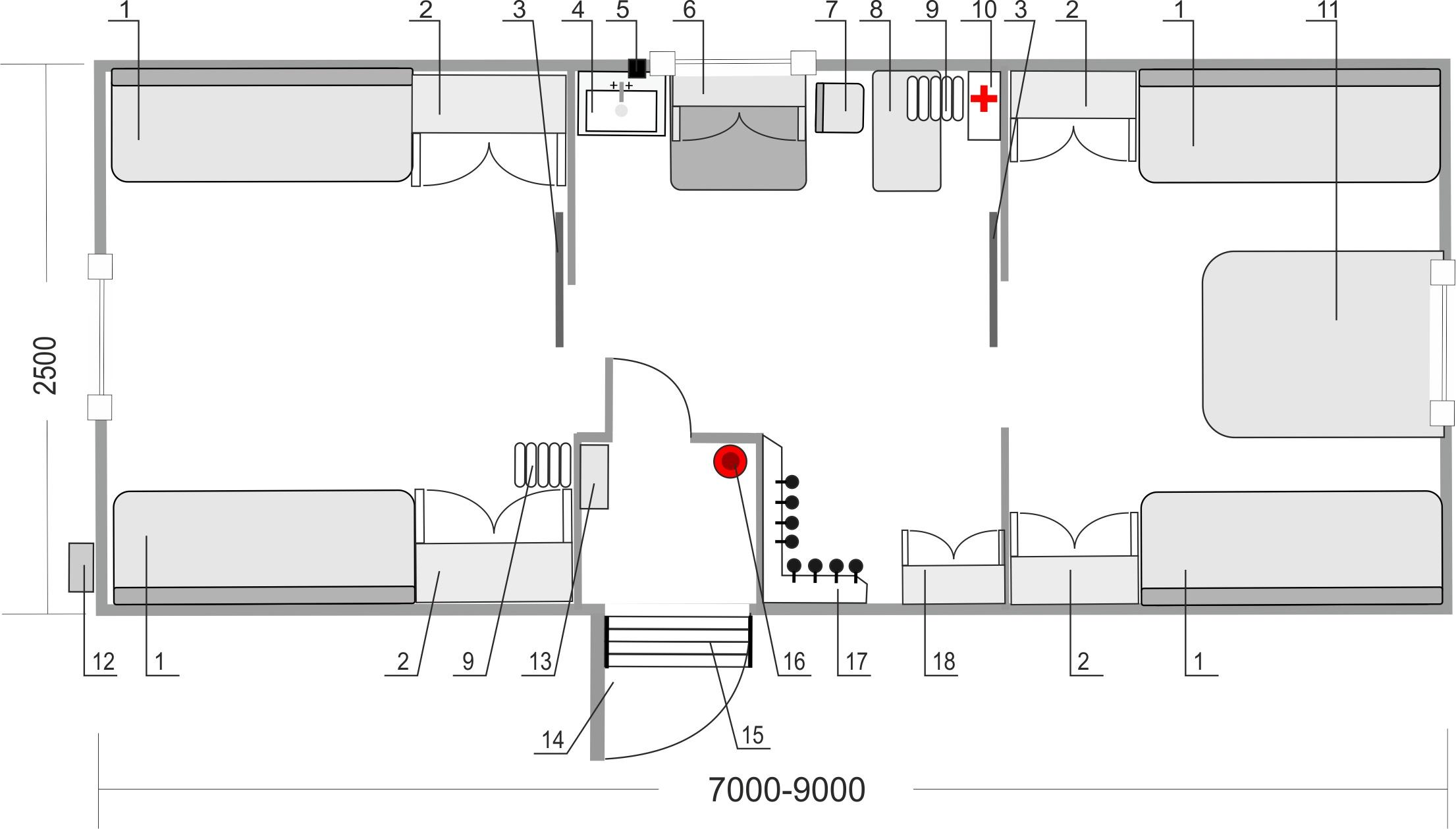 Вагон - дома на прицепах, типовая планировка фургона